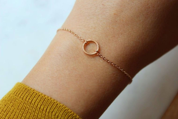 Rose Gold Circle Bracelet, Wife Jewelry Ideas, Geometric Bracelet, Open Circle, Karma Bracelet, Rose Gold Karma Bracelet, Good Vibes Only