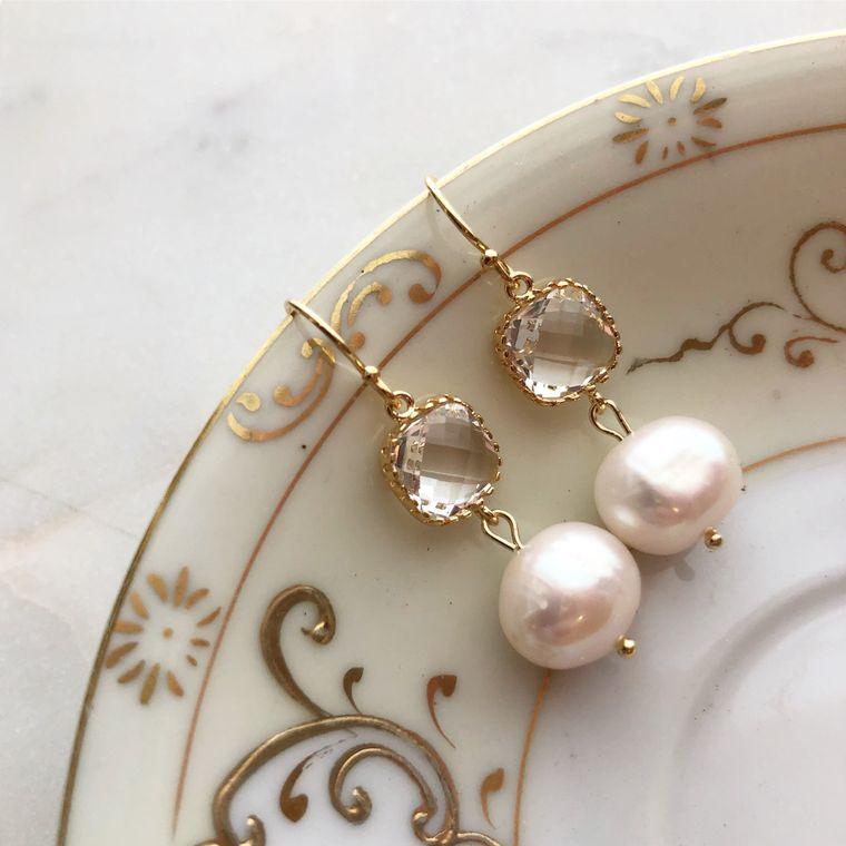 Pearl Earrings, Crystal Earrings, Wedding Jewelry, Wedding Earrings, Bridal Party Gifts, Bridesmaid Earrings Bridesmaid Jewelry Gift for Her