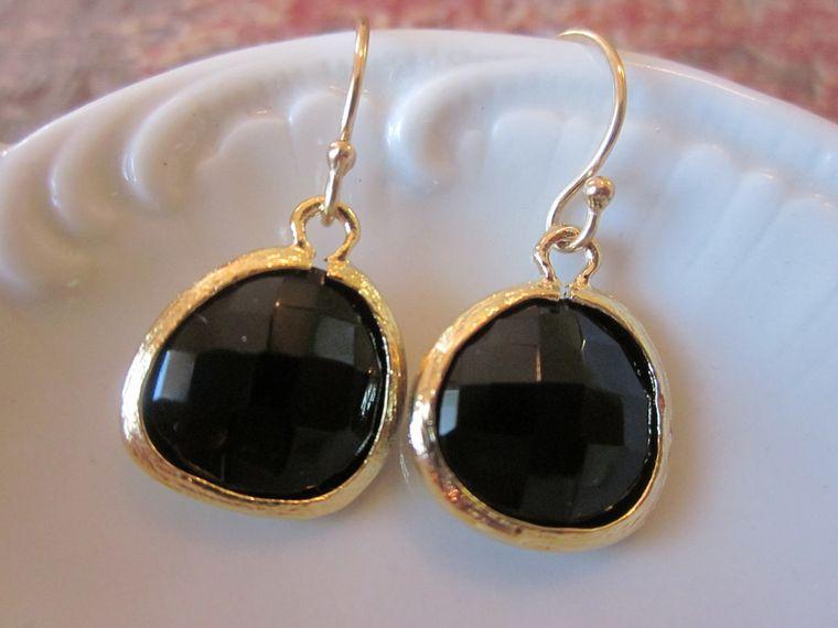 Black Onyx Earrings Gold Plated - Bridesmaid Earrings Wedding Earrings Valentines Day Gift