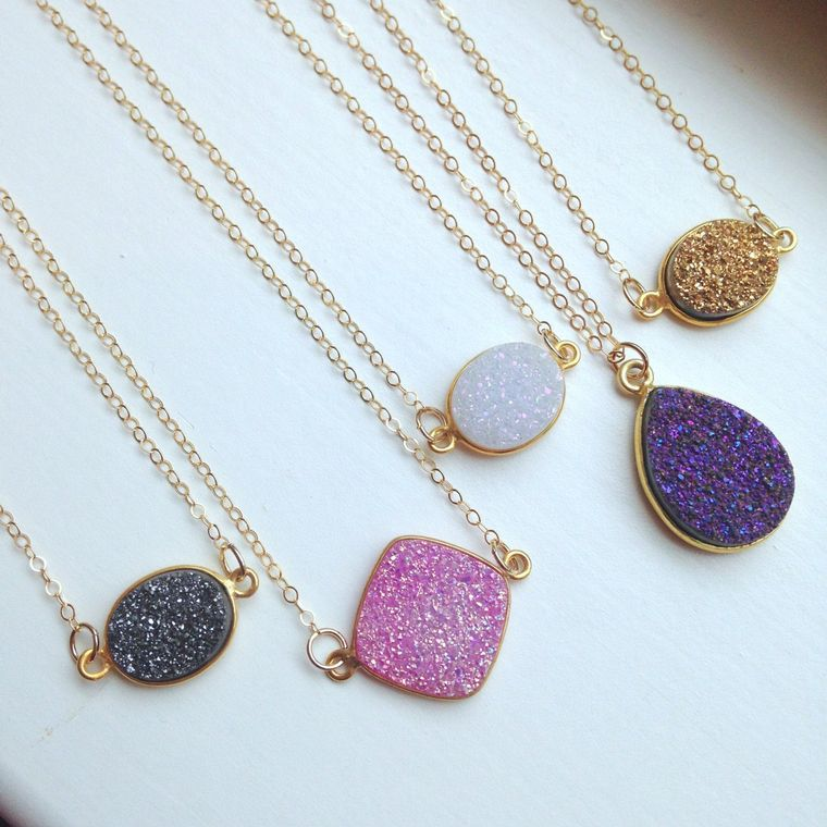 Gold Druzy Necklace Natural Druzy Jewelry - Drusy Necklace Jewelry - White Purple Gray Pink Druzy Christmas Gift Layering Statement Jewelry