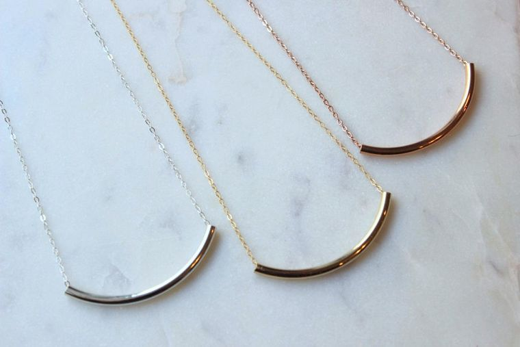 Tube Necklace, Curved Tube Necklace, Simple Gold Choker Delicate Gold Choker, Thin Choker Necklace, Boho Layered Choker, Curved Bar Necklace