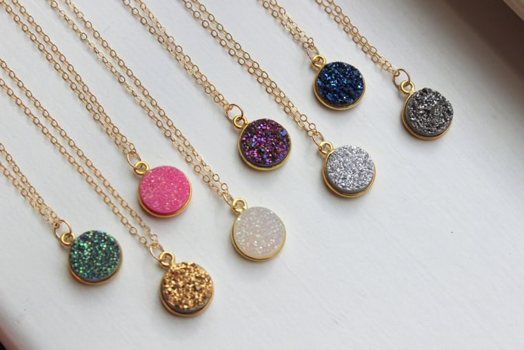 Round Druzy Necklace Druzy Fairytale Gift Drusy Jewelry Bridesmaid Gift Christmas Gift Travel Gift Minimalist Necklace Simple Gold Necklace