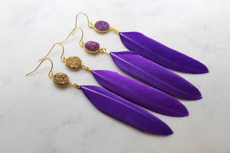 Gold Druzy Earrings, Purple Feather Earrings, Purple and Gold Earrings, Feather Jewelry, Gameday Earrings, Purple Druzy Earrings, Statement