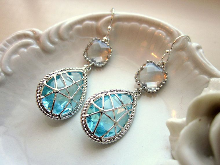 Crystal Aquamarine Earrings Blue Sterling Silver Earwires - Bridesmaid Earrings Wedding Earrings Valentines Day Gift