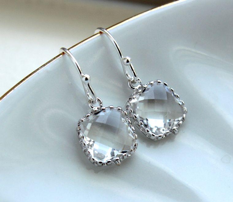 Dainty Small Silver Crystal Earrings - Crystal Clear Bridesmaid Earrings - Wedding Earrings - Silver Wedding Jewelry - Bridal Earrings
