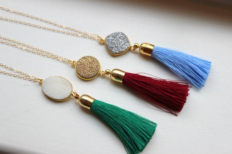 Gold Tassel Necklace Drusy Jewelry Drusy Necklace Fringe Tassel Druzy Necklace Wine Maroon Green Tassel Layering Statement Necklace Jewelry