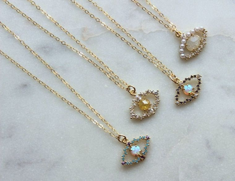 Evil Eye Necklace, Evil Eye Jewelry, Evil Eye Charm, Evil Eye Pendant, Gold Bohemian Necklace, Gold Boho Jewelry, Minimalist Necklace