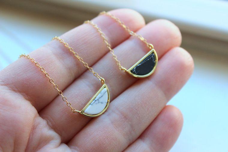 Half Moon Necklace, Howlite Jewelry, Black White Howlite Necklace, Gold Dainty Necklace, Minimalist Necklace, Moon Necklace Gold