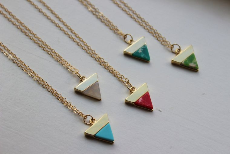 Gold Triangle Necklace, Triangle Jewelry Marble Necklace Marble Jewelry Minimalist Jewelry Bridesmaid Gift Dainty Labradorite Ruby Turquoise