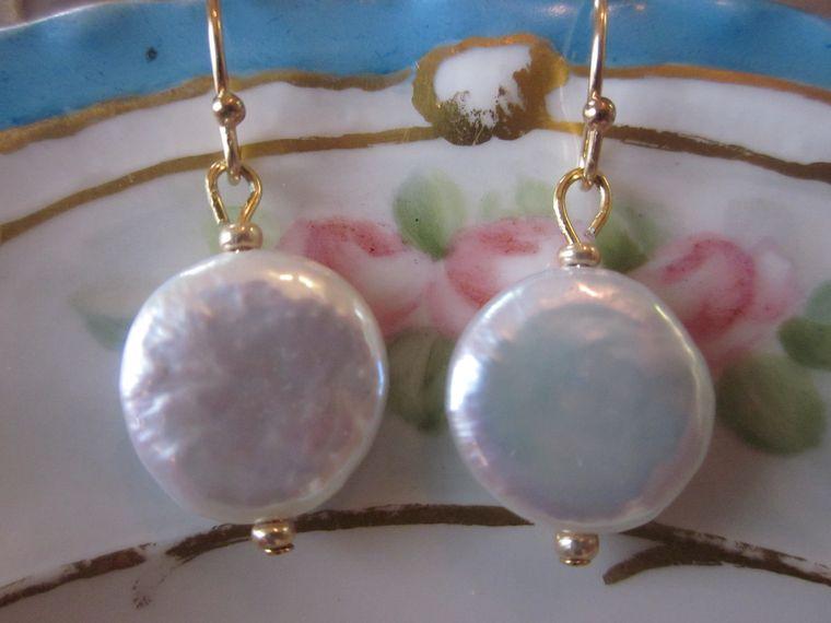 Gold White Freshwater Coin Pearl Earrings - Bridesmaid Earrings - Bridal Earrings - Wedding