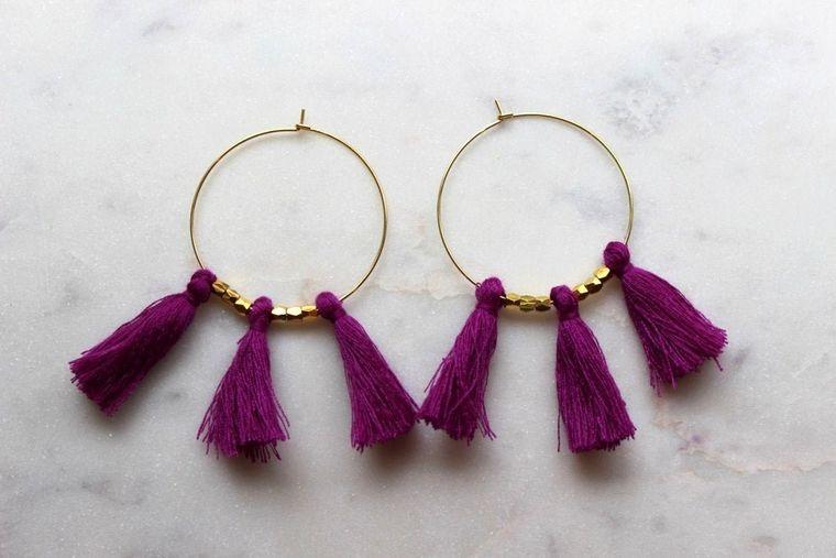 Purple Fringe Earrings, Purple Tassel Earrings, Purple Tassel Jewelry, Purple and Gold Jewelry, Purple and Gold Earrings, Gold Hoop Earrings