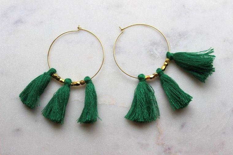 Green Fringe Earrings, Green Tassel Earrings, Green Tassel Jewelry, Green and Gold Jewelry, Green and Gold Earrings, Gold Hoop Earrings