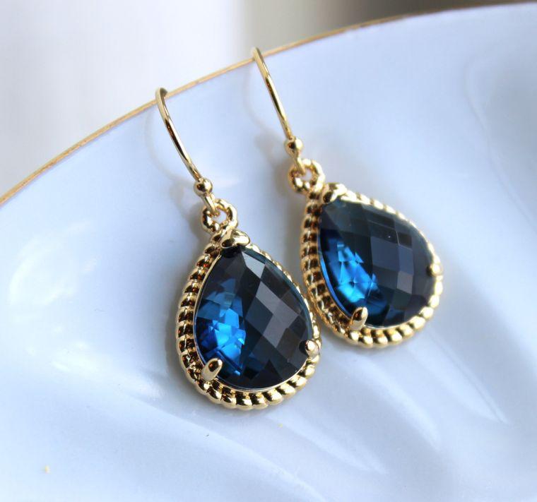 Sapphire Earrings Navy Blue Teardrop Gold - Navy Bridesmaid Jewelry - Sapphire Bridesmaid Earrings - Gold Navy Wedding Jewelry