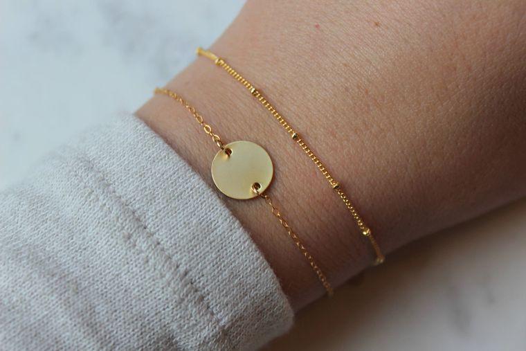 ANY INITIAL Disc Bracelet, Skinny Bar Bracelet, Initial Bracelet, Dainty Bracelet Set, Layering Bracelet Set, Dew Drops Bracelet, Round Disk
