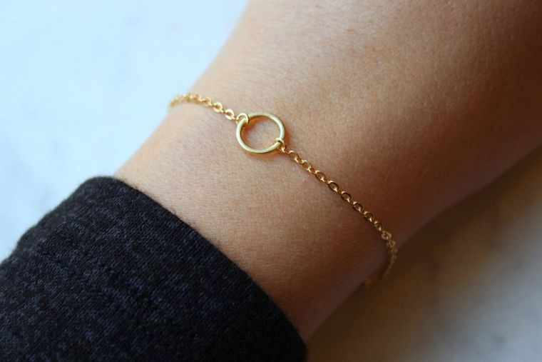 Gold Circle Bracelet, Mom Gift from Son, Geometric Bracelet, Open Circle, Karma Bracelet, Gold Karma Bracelet, Good Vibes Only, Round Charm