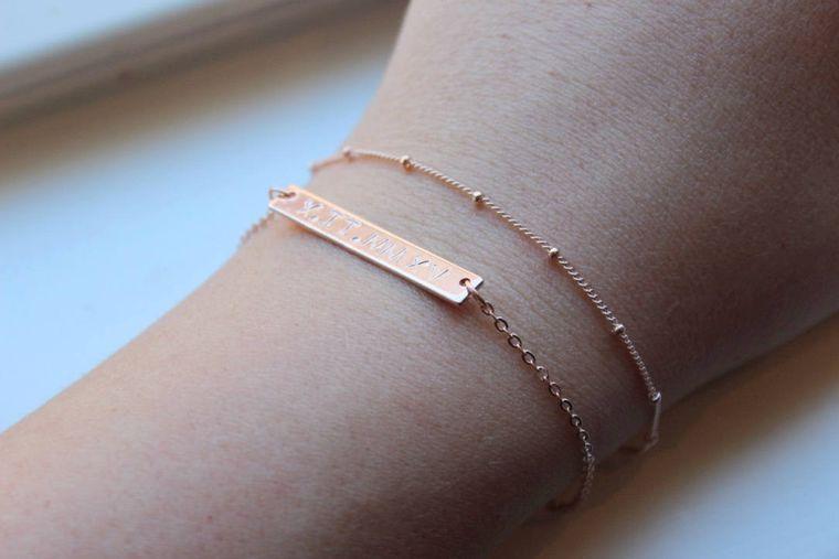 Dainty Bracelet Set, Skinny Bar Bracelet Layering Bracelet Set Rose Gold Roman Numeral Bracelet Dew Drops Bar Bracelet, Custom Date Bracelet