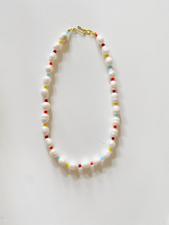 Rainbow Pearl Necklace Multi Color Beaded Choker