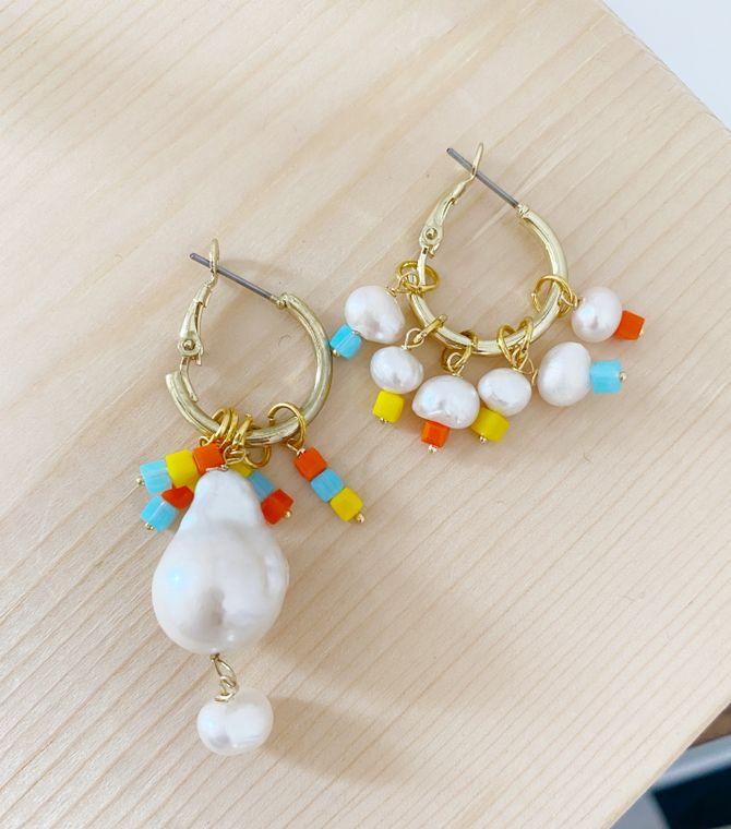 Asymmetrical Baroque Pearl Colorful Hoop Earrings