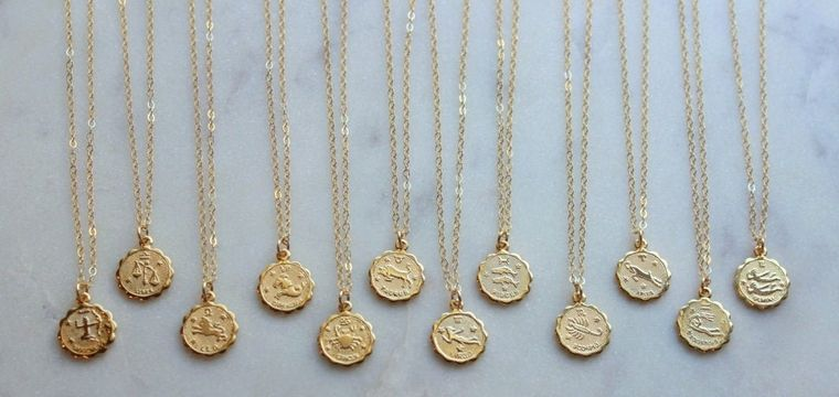 Celestial Jewelry, Gold Zodiac Necklace, Stocking Stuffer, Christmas Gift for Her, Christmas Gifts for Coworkers, Christmas Gift Necklace,