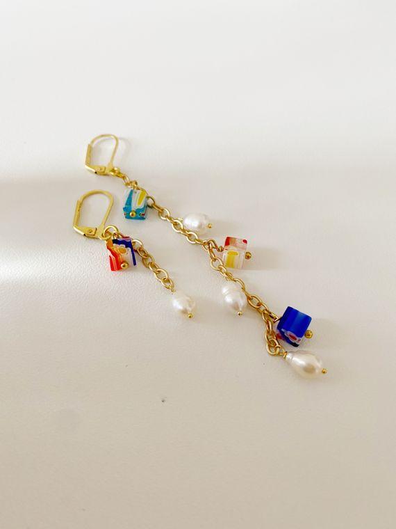 Millefoil & Freshwater Pearl Asymmetrical Mismatch Earrings