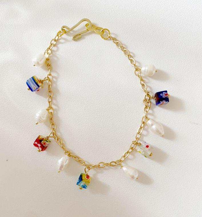 Millefoil & Freshwater Pearl Gold Bracelet