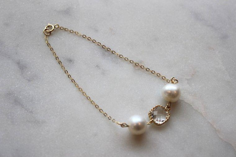 Freshwater Pearl Bracelet, Gold Pearl Bracelet, Gold Pearl Jewelry, Gold Crystal Bracelet, Pearl Crystal Bracelet, Pearl Bridal Jewelry