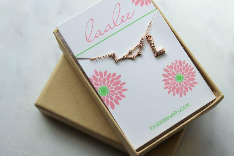 Personalized Zodiac Gift, Personalized Initial Bracelet, Personalized Zodiac Jewelry, Rose Gold Zodiac Bracelet, Celestial Initial Jewelry