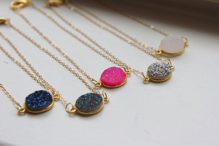 Druzy Gold Bracelet, Drusy Bracelet, Gold Jewelry, Druzy Jewelry, Drusy Jewelry, Christmas Gift for Her, White Druzy, Blue Druzy, Pink Druzy