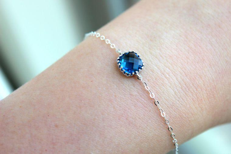 Dainty Bracelet Sapphire Navy Jewelry Blue Bracelet Sterling Silver Bracelet Bridesmaid Bracelet Bridal Bracelet Sapphire Wedding Jewelry