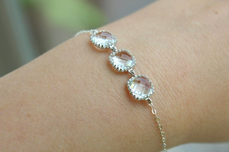 Crystal Bracelet Silver Clear Bracelet Three Square Crystal Jewelry Bridesmaid Bracelet - Crystal Clear Wedding Jewelry - Bridal Bracelet