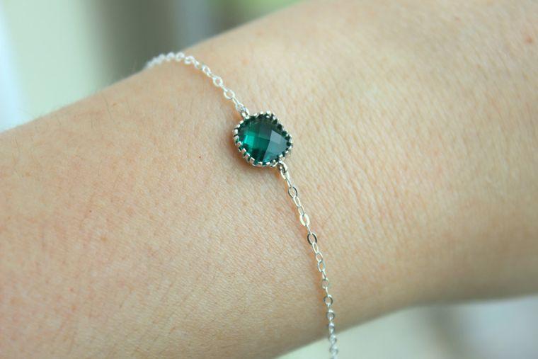 Dainty Emerald Green Bracelet Silver Square Hunter Green Bracelet Jade Bridesmaid Bracelet - Bridal Bracelet Emerald Wedding Gift Under 20