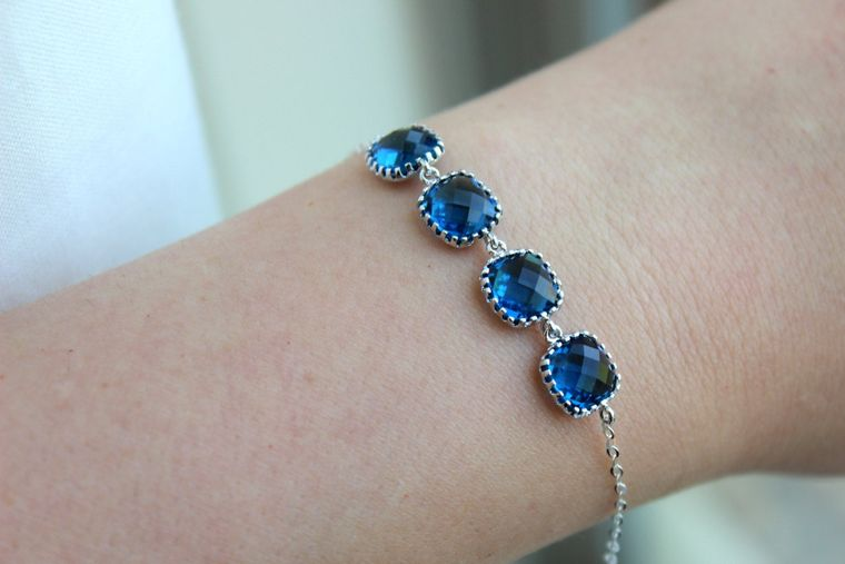 Silver Sapphire Navy Blue Bracelet Silver Bridesmaid Bracelet - Bridal Bracelet - Wedding Jewelry - Silver Accessories - Something Blue