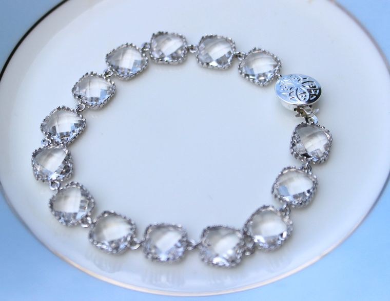 Crystal Bracelet Clear Silver Plated Glass - Bridesmaid Bracelet - Bridal Bracelet - Bridesmaid Jewelry - Crystal Wedding Jewelry