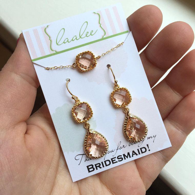 Bridesmaid Jewelry Set, Bridesmaid Gift, Champagne Jewelry, Blush Jewelry Set, Wedding Gift, Champagne Earrings, Blush Wedding Jewelry