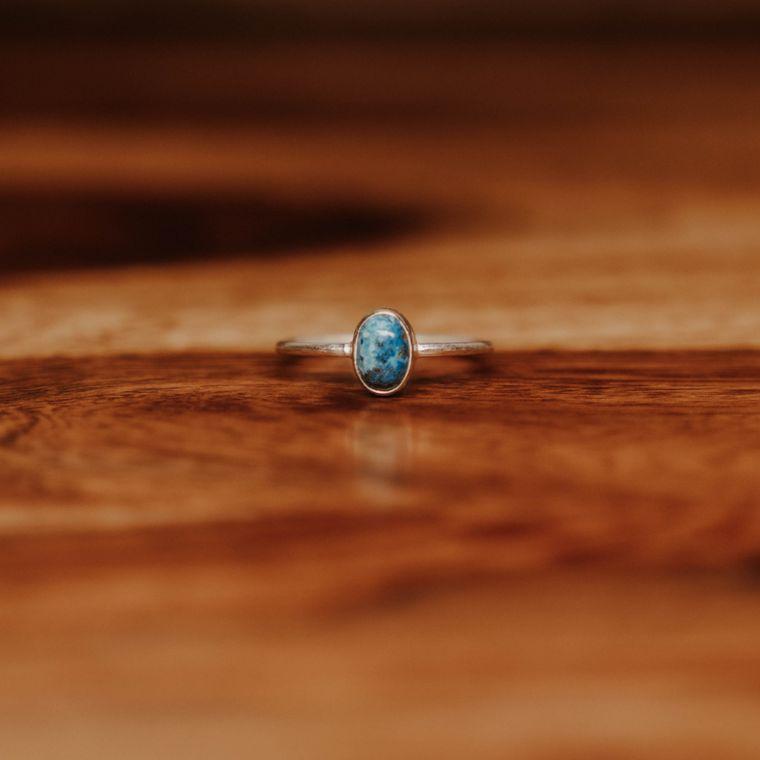 Chrysocolla Ellipse Ring - Sterling Silver