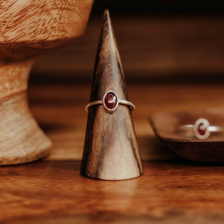 Garnet Ellipse Ring - Sterling Silver