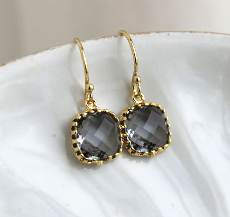 Dainty Charcoal Gray Earrings Gold Plated - Small Grey Bridesmaid Earring - Slate Pewter Wedding Jewelry - Christmas Gift Under 20