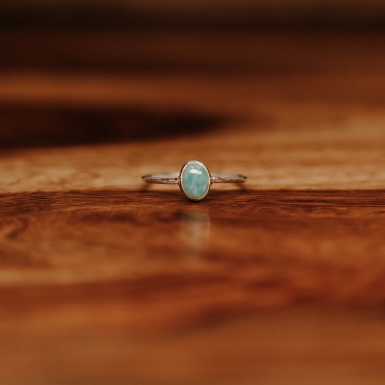 Amazonite Ellipse Ring - Sterling Silver