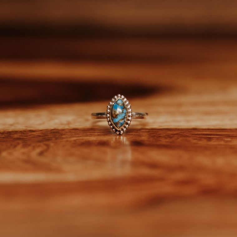 Blue Copper Turquoise Mandorla Ring - Sterling Silver