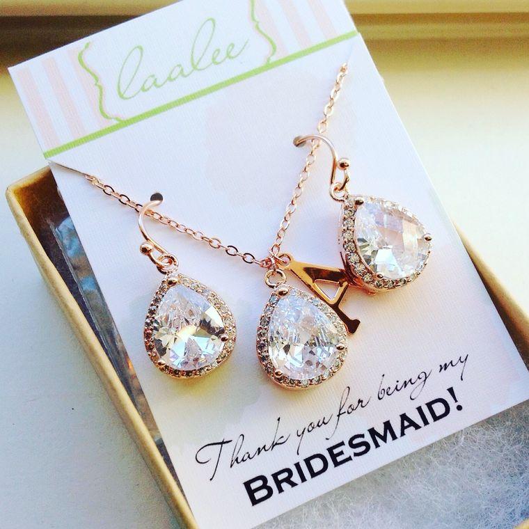 Rose Gold Jewelry Set, Crystal Jewelry Set, Wedding Jewelry Clear Bridesmaid Jewelry, Rose Gold Wedding, Bridal Jewelry Set, Bridesmaid Gift