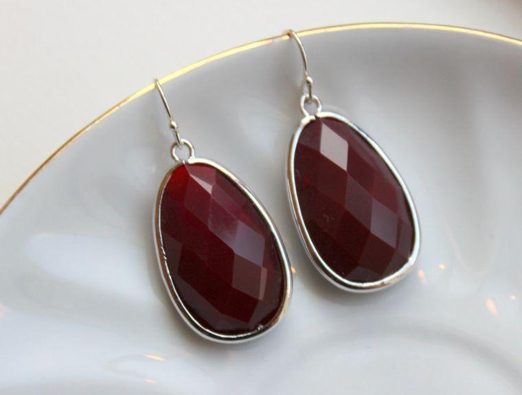 Large Silver Burgundy Earrings Maroon Jewelry Teardrop Glass Bridesmaid Earrings Wedding Earrings Jewelry Deep Wine Red Bridesmaid Jewelry