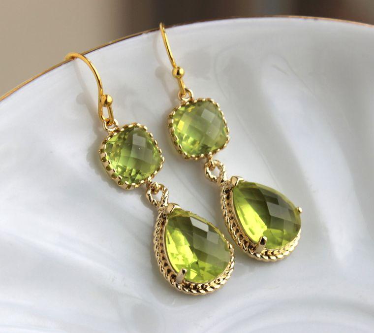 Gold Peridot Earrings Apple Green Two Tier Earrings - Peridot Jewelry - Chartreuse Earrings - Bridesmaid Jewelry - Wedding Jewelry Earrings