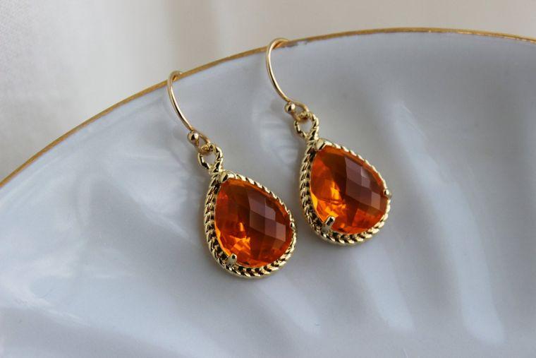 Burnt Orange Earrings Amber Gold Jewelry - Tangerine Bridesmaid Earrings Wedding Earrings Amber Bridesmaid Jewelry Orange Wedding Jewelry