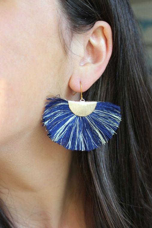 Navy Fan Fringe Earrings, Navy and Gold Earrings, Blue and Gold Earrings, Gameday Earrings, Fan Tassel Earrings, Navy and Gold Jewelry