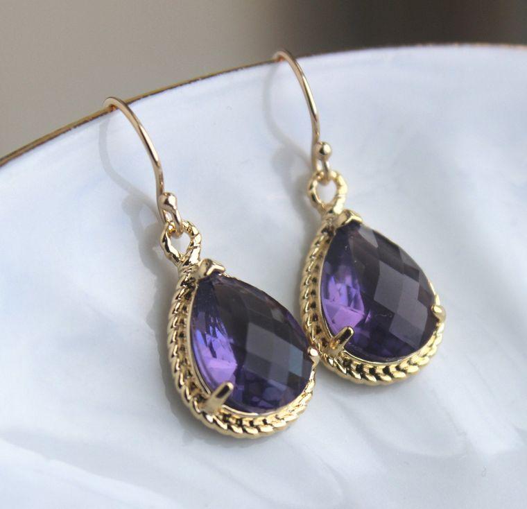 Gold Amethyst Earrings Purple Tanzanite Jewelry - Purple Bridesmaid Earrings Eggplant Wedding Earrings Bridal Jewelry - Bridesmaid Gift