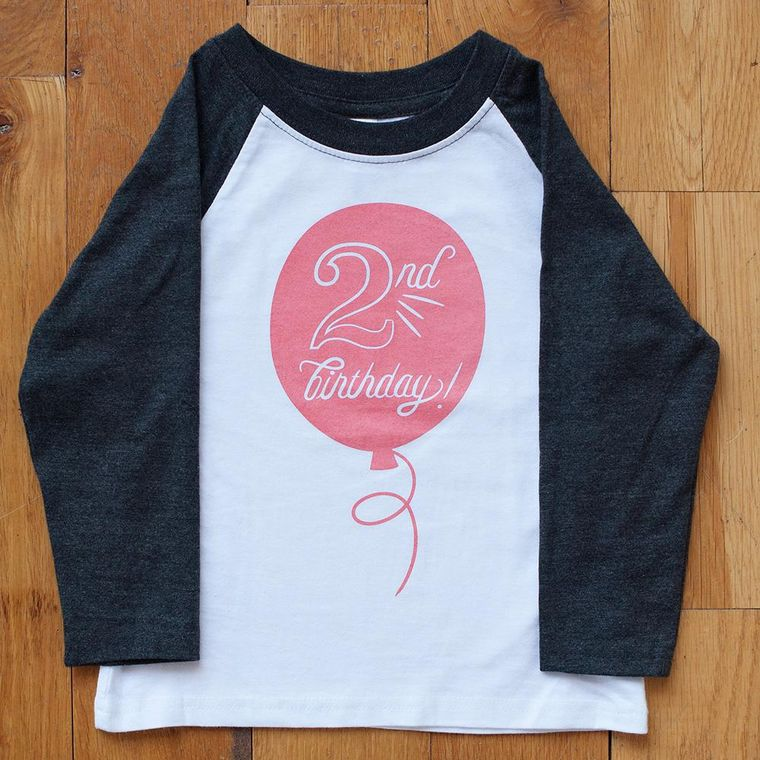 Second Birthday in Coral Raglan Tee