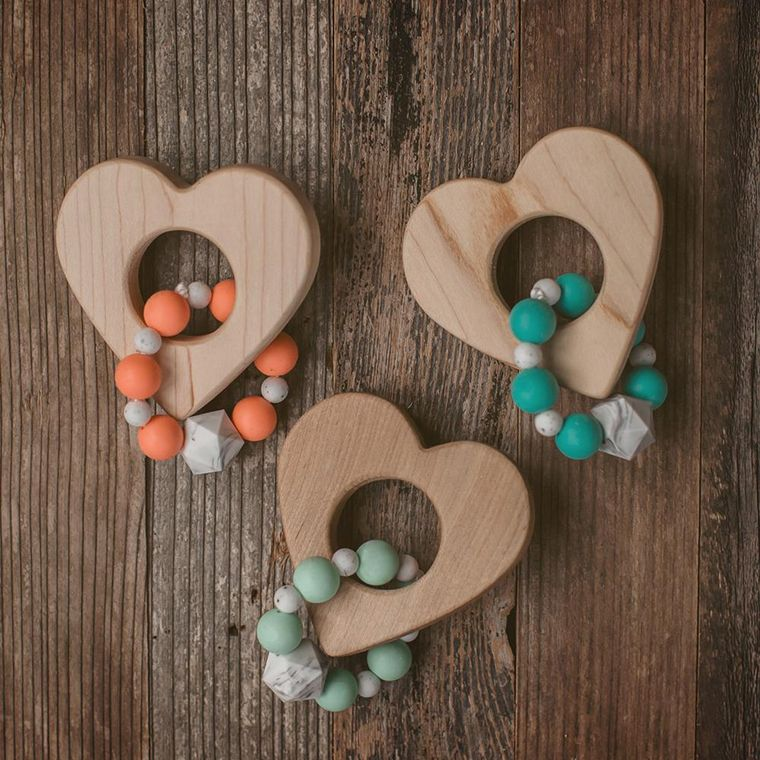 Heart Wood and Bead Teether