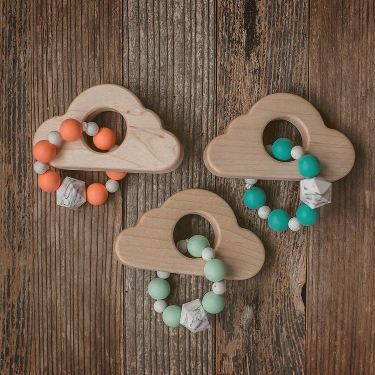 Cloud Wood and Bead Teether