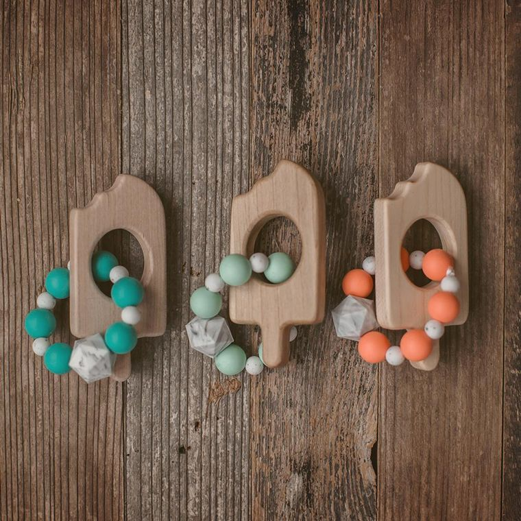 Popsicle Wood and Bead Teether
