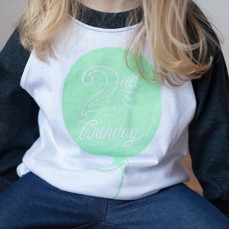Second Birthday in Mint Raglan Tee